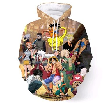 Classic anime Men Women Hooded Sweatshirt Brand clothing One Piece/Dragon Ball Z/Naruto 3d print Hoodies Hip Hop Pullovers