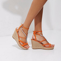 Orange embellished espadrille platform wedges - Sandals - Shoes & Boots - women