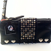 Faux (Vegan) Leather Heart Spike Rivets Clutch Wallet with Carry Strap