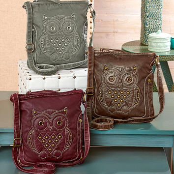 Studded Owl Crossbody Bag Embellished Applique Fully Lined Purse Bag Gray Burgundy