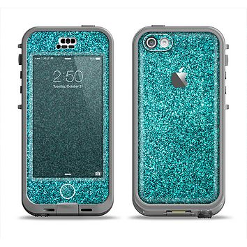 The Teal Glitter Ultra Metallic Apple iPhone 5c LifeProof Nuud Case Skin Set