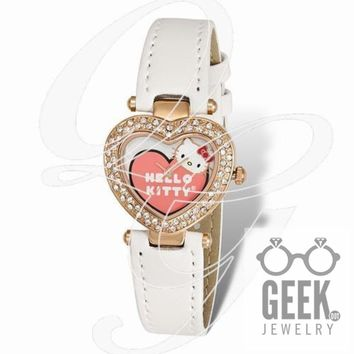 Hello Kitty Pink IP Plated Heart Case Crystal Bezel Watch