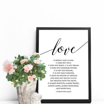 Bible verse art, Christian poster, PRINTABLE scripture wall art, Christian prints, Love is patient, Love is kind, 1 Corinthians 13 : 4-8