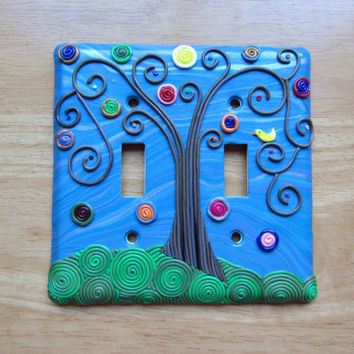 "Polymer Mosaic and Filigree Double Light Switch Switchplate ""Blue Skies"" Folk Art Tree in blue, green, brown and multi by Colorful Clay"