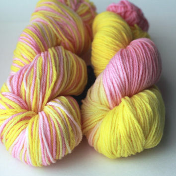 On Sale STRAWBERRY BANANA - DK Weight Merino Wool Yarn for Knitting, Crochet or Felting - Hand-Dyed Wool Yarn Skein - 246 Yards / 100g