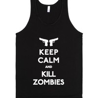Keep Calm and Kill Zombies-Unisex Black Tank