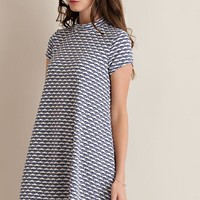 Swinging Into Spring Geometric Fit And Flare Navy Dress