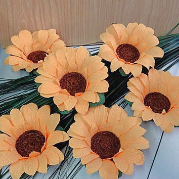 Sunflower candlestick for tea LED candle, Candlestick sunflower, Set of 10 heads of sunflowers, Sunflower decoration table
