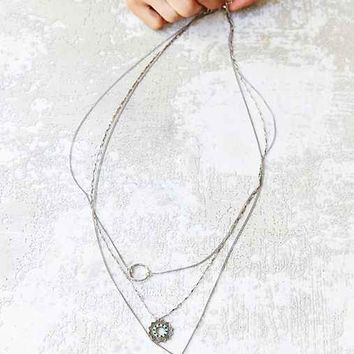 Hamsa Charm Triple-Layer Necklace- Silver One