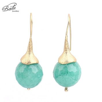 Badu Green Natural Stone Earrings Pendant Women Gold Colo Drop Earring Mothers Day Gift Jewelry Simple Design 2017 Fashion