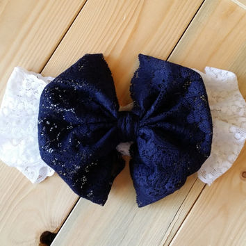 Lace Bow Headwrap - Navy Bow