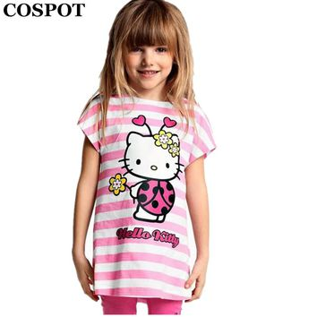 COSPOT Baby Girls Summer Hello Kitty Clothing Set Girl Cotton Suit 2Pcs T-Shirt+Pants Girls Striped Sets 2017 New Arrival 15E