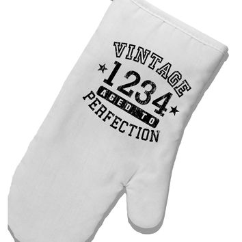 Vintage Birth Year Distressed Personalized White Printed Fabric Oven Mitt by TooLoud