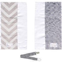 Baby Laundry 92124 Gray Chevron 2-Pack Soft Minky Burp Cloths with Pacifier Clip