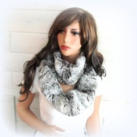 Infinity Scarf Long Washable Faux Fur Infinity Scarf Cowl Winter Luxe Pale Frosted Grey Fake Fur Neckwarmer Outerware The Best Gift for Her