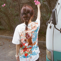 Lost in Kyoto Collection Japanese black or white carp fish in floral night T-shirt