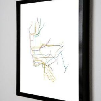 NYC SUBWAY MAP  LINE ART    85 x 11 PRINT by dualhabit on Etsy