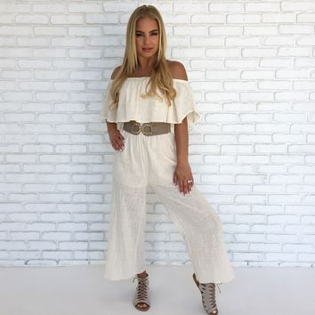 Vienna Linen Jumpsuit in Cream