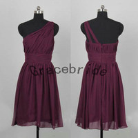cheap plum prom dresses short chiffon bridesmaid dress formal homecoming dresses simple fashion holiday dresses with one shoulder on sale