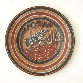 Mexican Folk Art Bird Print Plate, Tonala Burnished Hand Painted Decorative Plate, Southwestern Rustic Decor