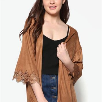 Fashion Casual Solid Color Middle Sleeve Cardigan Coat Kimono