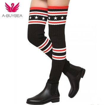 Brand Socks Boots Women Over The Knee High Boots Autumn Winter Knitted Shoes Long Thigh High Boots Elastic Slim Size35-40 Hot