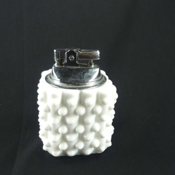 Fenton Hobnail Milk Glass Table Lighter White Vintage