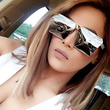 Fashion Brand Designer Square Flat Top Sun Glasses Mirror Women Sunglasses Men Eyeglasses Hip Hop rose gold Frame Lady Male Rock