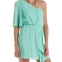 Mint One Shoulder Asymmetrical Chiffon Dress by Charlotte Russe