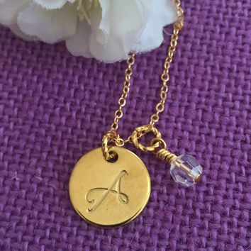 Monogrammed Necklace - Initial Necklace - Personalized Initial Necklace - Hand stamped - Gold - Disc Necklace - Custom