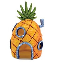 Penn Plax SpongeBob Squarepants Pineapple House with Swim Holes Aquatic Ornament