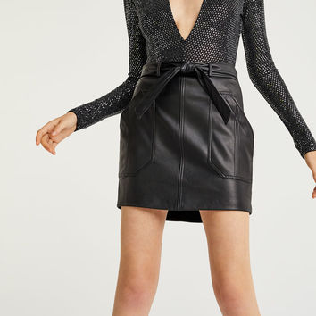 Faux leather skirt with tied belt - Skirts - Clothing - Woman - PULL&BEAR United Kingdom