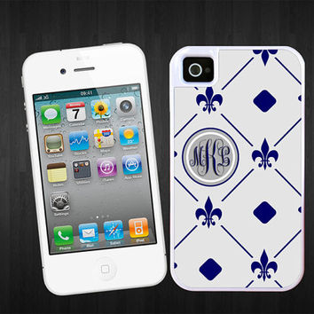 SALE Fleur de lis Grey Circle Monogram iPhone 4/5 tough case  - 2 piece rubber lining , personalized with your initials, iPhone 4 cover