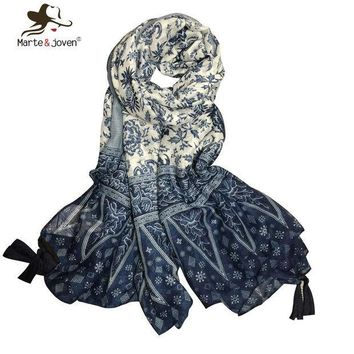ICIKJG2 [Marte&Joven] Oversized Blue and White Porcelain Ethnic Style Flower Print Thin Scarf Women Exquisite Tassels Foulard Bandana