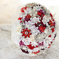 8 inch Wine red bridal bouquet / (handmade) Rose, brooches, jewelry Wedding Bouquet / lace flower crystal bouquet