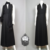 Vintage 70s Hollywood Glam Avant Garde Long Black Maxi Dress Vamp Evening Gown Ostrich Feather Scarf Sleeveless Ruched Bust Deep V Neck