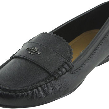 Coach Women's Odette Pebble Grain Leather Flats Style A01375 Black Medium / 6 B(M) US '