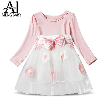 New Brand 2018 Autumn Winter Baby Girl Dress Kids Clothes Infant Party Wear Flowers Toddler Girls 1 2 Year Birthday Gift Dresses