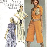 Retro Disco Style 70s Jumpsuit Pantsuit One Piece Wide Leg Simplicity Sewing Pattern Vintage Fashion Coat Vest Groovy Boho Hippie Bust 34