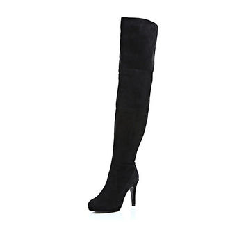 River Island Womens Black over the knee suede boot