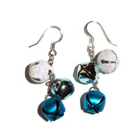 Blue Jingle Bell Dangle Earrings