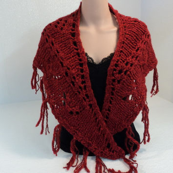 Handcrafted Wrap Shawl Length is 56in Red Fringes 100% Merino Wool Female Adult -- New No Tags