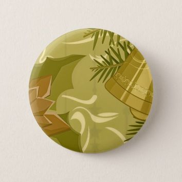 Abstract Golden Mint Christmas Round Button