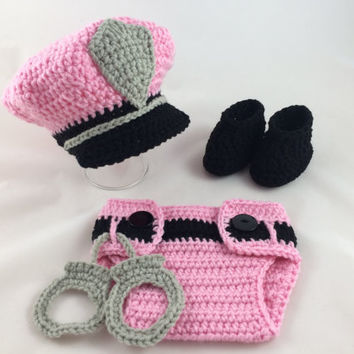 Baby Girl Police Officer Set - Policeman Outfit - Crochet - Photography Prop - Newborn Policeman - Baby Shower Gift - Pink