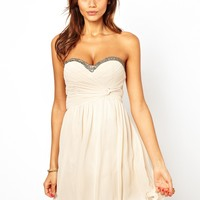 Little Mistress Bandeau Prom Dress with Embellished Trim