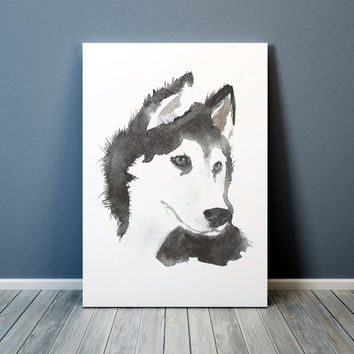 Siberian husky print Watercolor dog poster Cute nursery art ACW77
