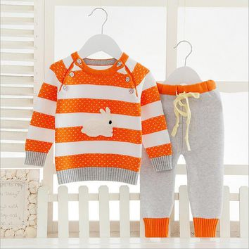 CardiganBaby Boys/Girls Clothes Set Children Sweatshirt Casual Clothes Baby Clothing Set Long Sleeve Baby Sweater Baby Knitted