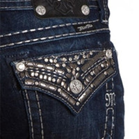 Miss Me Junior's Rhinestone Dark Bootcut Jeans