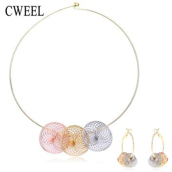 Fashion African Beads Jewelry Set For Women Drop Earrings Colorful Gold Color Choker Necklace Bridal Party Wedding Accessories