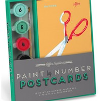 Office Supplies Paint-By-Number Postcards Kit